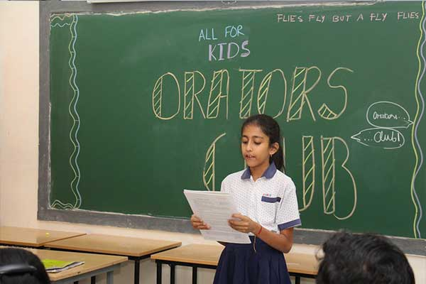 CHIREC Student participatig in Orators Club Program helping them to improve Language and Creativity. This program also have sequences of drama games, role-plays, mime, speeches, and diction exercises through projects on storytelling, news reading, word games and interviews.